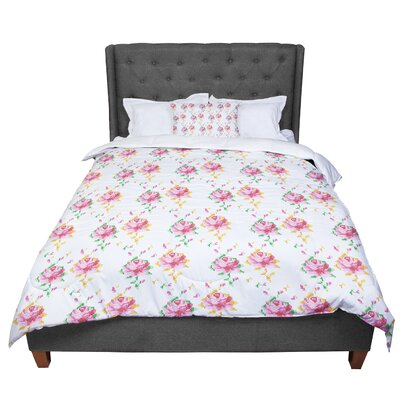 Laura Escalante Cross Stitch Flowers Comforter Size: Queen