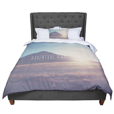 Laura Evans Adventure Awaits You Coastal Typography Comforter Size: Twin