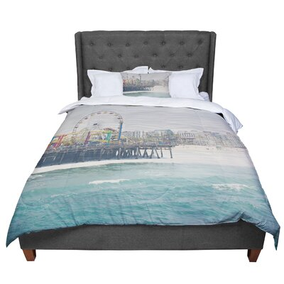 Laura Evans the Pier at Santa Monica Coastal Teal Comforter Size: Queen