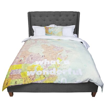 Libertad Leal What a Wonderful World Map Comforter Size: Twin
