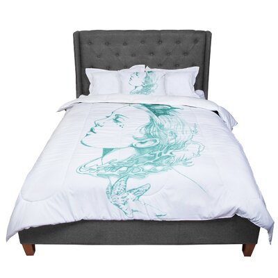 Lydia Martin Queen of the Sea Comforter Size: Twin, Color: Green