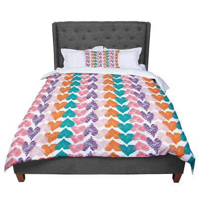 Louise Machado Hearts Comforter Size: King