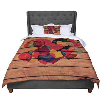 Louise Machado Wooden Heart Comforter Size: Queen