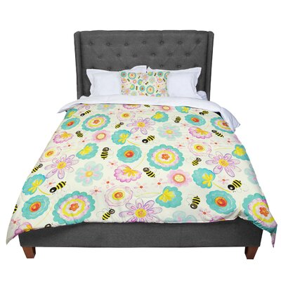 Louise Machado Floral Bee Comforter Size: King