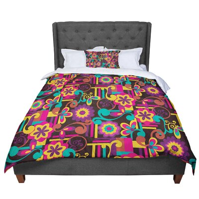 Louise Machado Arabesque Floral Bright Colorful Comforter Size: King