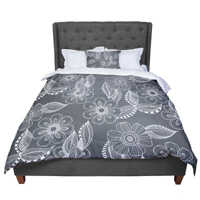 Louise Machado Floral Ink Comforter Size: King