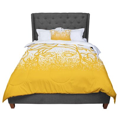 Just L Versus Spray Digital Comforter Size: King, Color: Gold