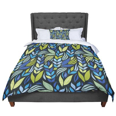 Michelle Drew Underwater Bouquet Comforter Size: Queen, Color: Navy
