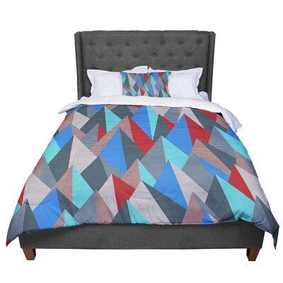Michelle Drew Mountain Peaks Comforter Size: King, Color: Blue/Red