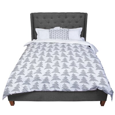 Michelle Drew Herringbone Forest Comforter Size: King, Color: Gray