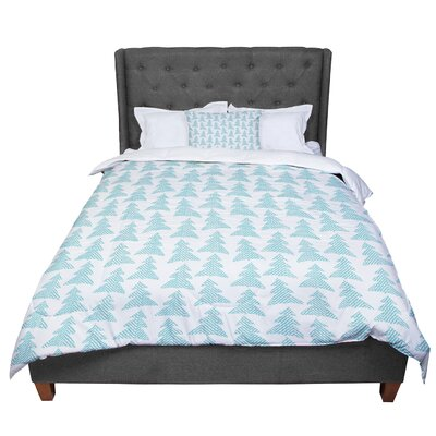 Michelle Drew Herringbone Forest Comforter Size: Queen, Color: Blue