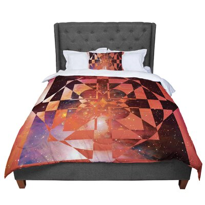 Matt Eklund Galactic Hope Comforter Size: Queen, Color: Red/Orange