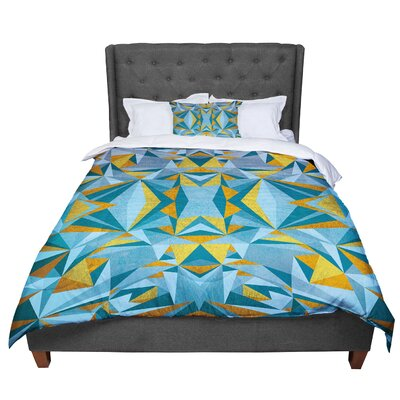 Nika Martinez Abstraction Comforter Size: Twin, Color: Blue/Gold