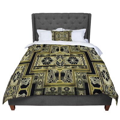 Nika Martinez Golden Art Deco Comforter Size: Twin, Color: Black/Gold