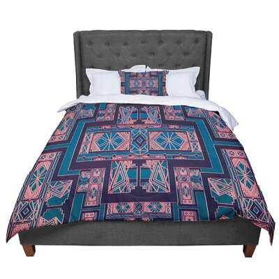 Nika Martinez Golden Art Deco Comforter Size: Queen, Color: Blue/Coral