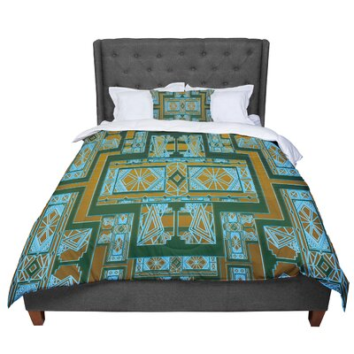 Nika Martinez Golden Art Deco Comforter Size: King, Color: Green/Blue