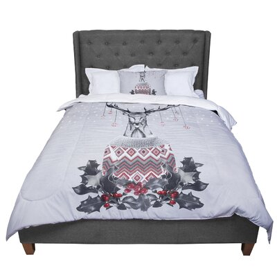 Nika Martinez Christmas Deer Snow Holiday Comforter Size: Queen