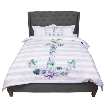 Nika Martinez Floral Anchor Stripes Comforter Size: King