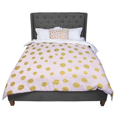 Nika Martinez Dots Comforter Size: King, Color: Pink