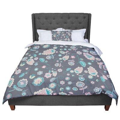 Nika Martinez Cute Winter Floral Comforter Size: Twin