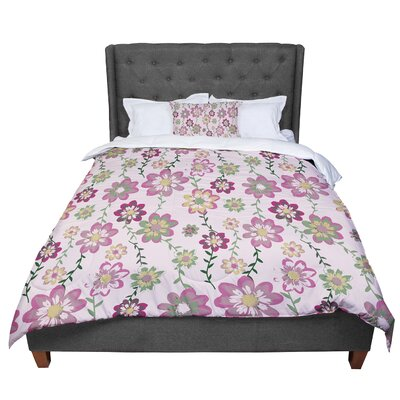 Nika Martinez Romantic Flowers Floral Comforter Size: Queen