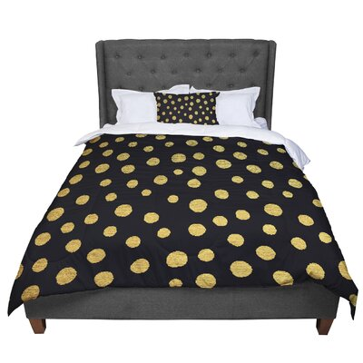 Nika Martinez Dots Comforter Size: King, Color: Black