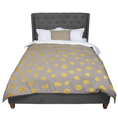 Nika Martinez Earth Golden Dots Comforter Size: Queen