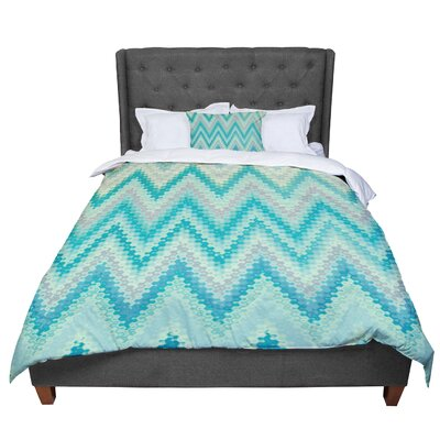 Nika Martinez Seventies Emerald Chevron Abstract Comforter Size: Queen
