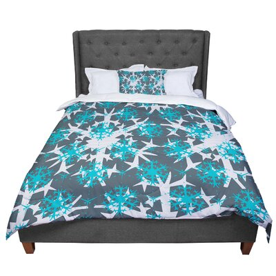 Miranda Mol Tree Snow Flakes Comforter Size: Queen