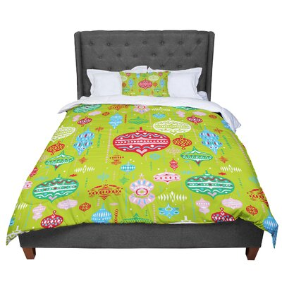 Miranda Mol Ornate Ornaments Comforter Size: King, Color: Green