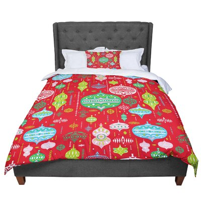 Miranda Mol Ornate Ornaments Comforter Size: Queen, Color: Red