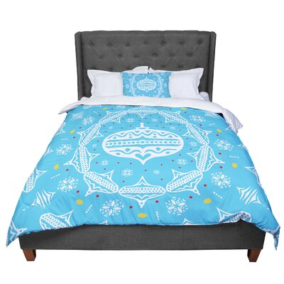 Miranda Mol Deco Wreath Scarlet Comforter Size: Queen, Color: Blue/Aqua