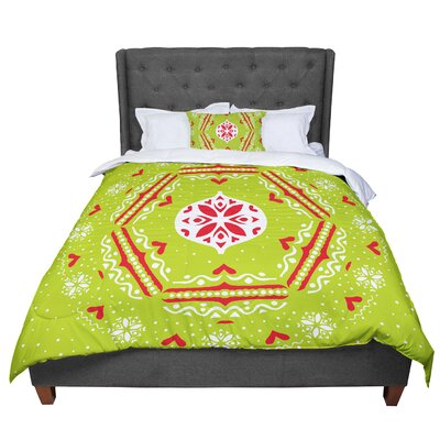 Miranda Mol Snowjoy Comforter Size: King, Color: Green/Red