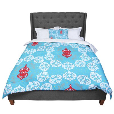 Miranda Mol Frosted Holiday Comforter Size: Queen, Color: White/Blue