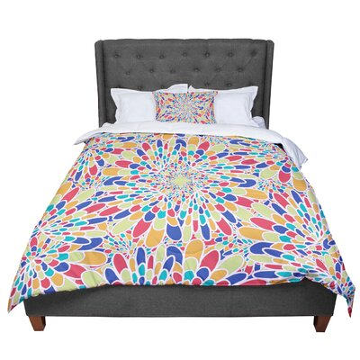 Miranda Mol Flourishing Geometric Comforter Size: King, Color: Blue/Red