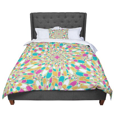 Miranda Mol Flourishing Geometric Comforter Size: King, Color: Green/Yellow
