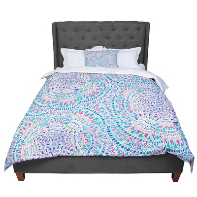 Miranda Mol Kaleidoscopic Geometric Comforter Size: King, Color: White/Aqua