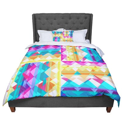 Miranda Mol Triangle Checker Pastel Rainbow Comforter Size: Twin