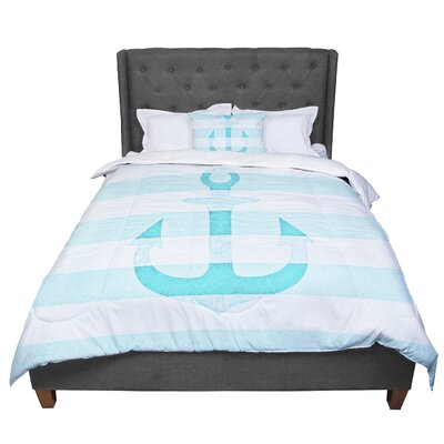 Monika Strigel Stone Vintage Anchor Comforter Size: Queen, Color: Aqua