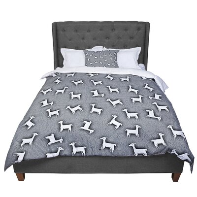 Monika Strigel Baby Llama Comforter Size: Queen, Color: Gray/White