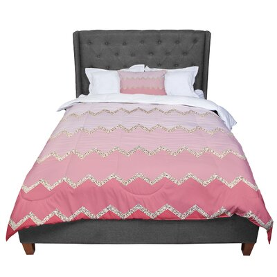 Monika Strigel Avalon Ombre Chevron Comforter Size: King, Color: Pink