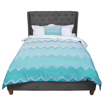 Monika Strigel Avalon Ombre Chevron Comforter Size: King, Color: Aqua