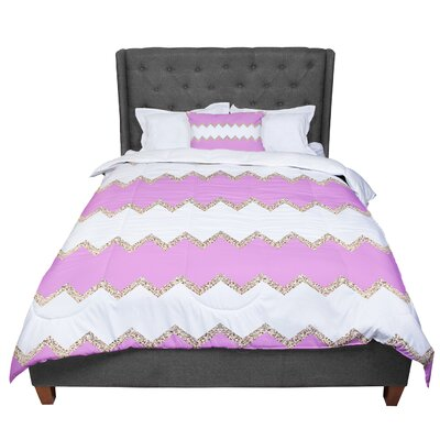 Monika Strigel Avalon Chevron Comforter Size: King, Color: White/Pink