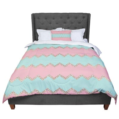 Monika Strigel Avalon Chevron Comforter Size: Twin, Color: Orange/Mint