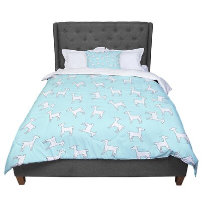 Monika Strigel Baby Llama Comforter Size: King, Color: Blue/White