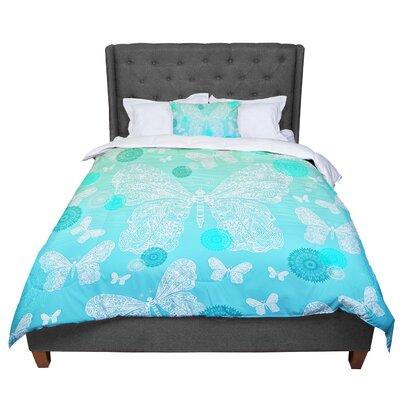 Monika Strigel Butterfly Dreams Comforter Size: King, Color: Aqua/Teal