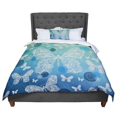Monika Strigel Butterfly Dreams Comforter Size: Queen, Color: Blue/Green