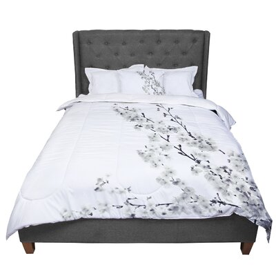 Monika Strigel Cherry Sakura Floral Comforter Size: King, Color: White/Natural