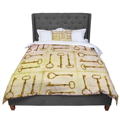 Marianna Tankelevich Secret Keys Comforter Size: King, Color: Tan/Brown