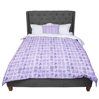 Marianna Tankelevich Cute Birds Comforter Size: King, Color: Purple